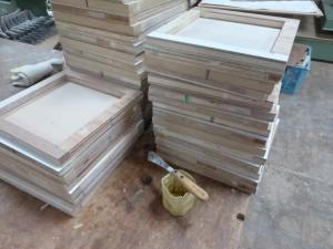 木枠と補修材(パテ)